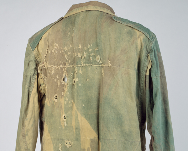 Lieutenant Thomas Hall was wounded by mortar fragments after landing by glider at Arnhem. His smock still displays signs of battle damage.