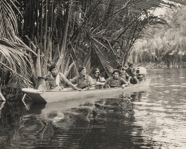 Royal Green Jackets patrolling the river near Bekenu in Brunei, December 1962