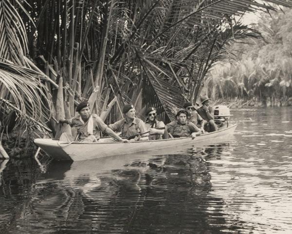 Royal Green Jackets patrolling the river near Bekenu in Brunei, December 1962