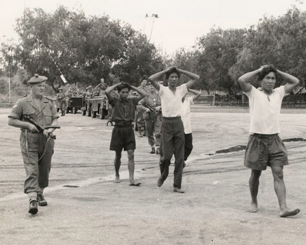 Rebels captured by the Queen's Own Highlanders at the Brunei oil town of Seria, December 1962