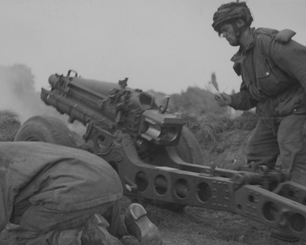 Engaging the enemy on the outskirts of Arnhem with a 75 mm gun, 19 September 1944