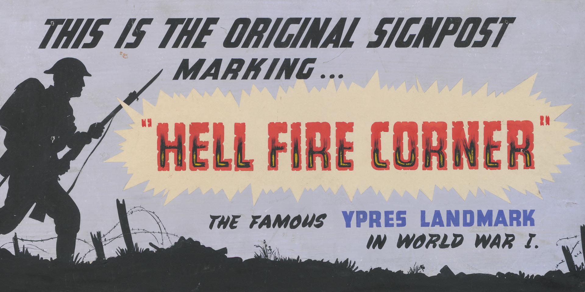 Advertising board used in Storie's shop to publicise the Hellfire Corner sign, c1950
