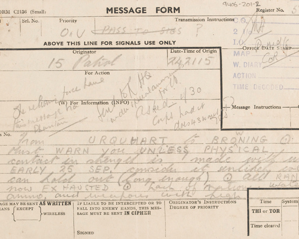 Signal from Major-General Roy Urquhart, 1st Airborne Division, outlining his desperate situation and requesting assistance, 24 September 1944