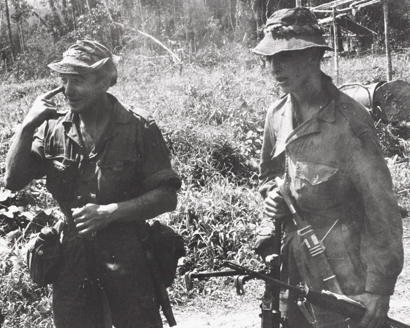 Soldiers at Nanga Gaat on the Rejang River, North Borneo, 1964