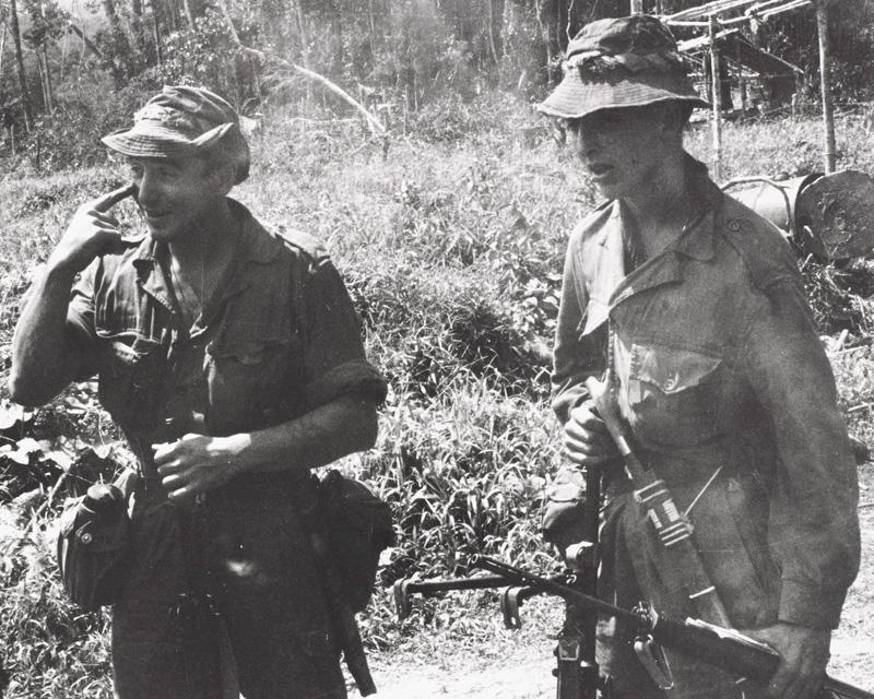 Soldiers at Nanga Gaat on the Rejang River, North Borneo, 1964