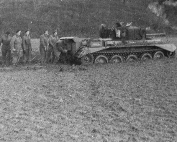 A tank from the Guards Armoured Division bogged down, 1944
