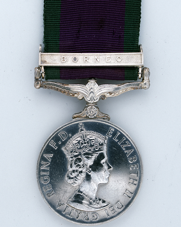 General Service Medal with Borneo clasp awarded to Rifleman Topbahadur Mall, 2nd King Edward VII's Own Gurkha Rifles