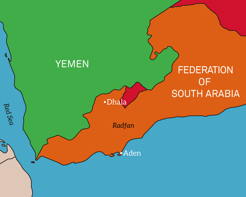 Map of southern Arabia, 1965