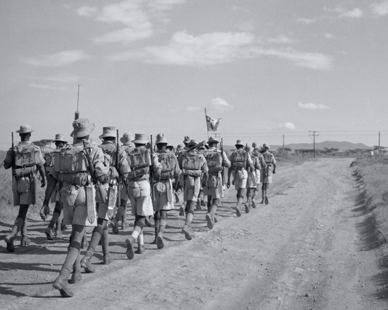 A platoon of 'A' Company, 4th King's African Rifles, during a route march near Gilgil in Kenya, c1956