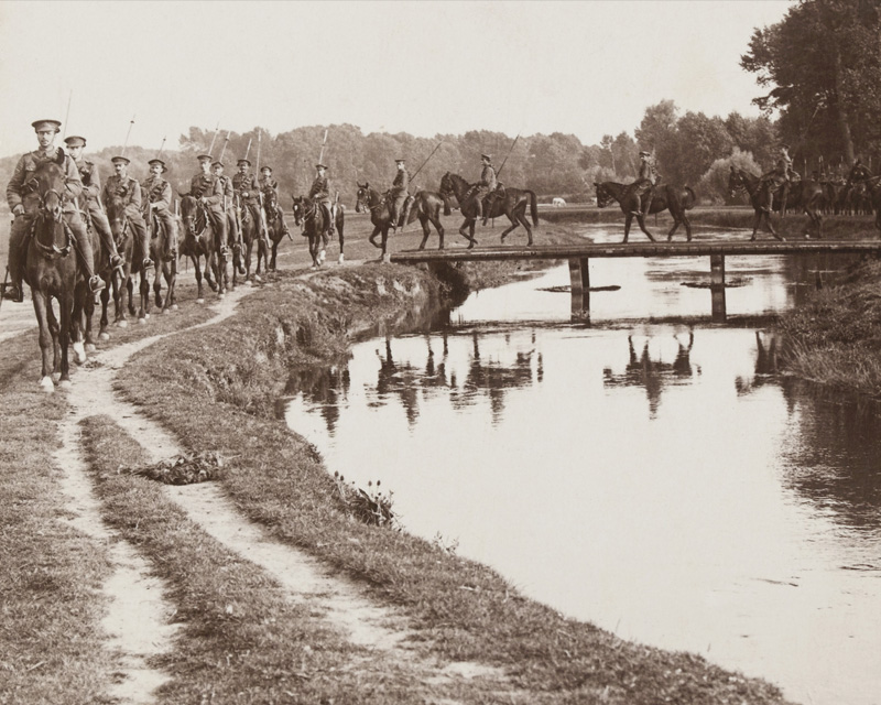 'A regiment of Allenby's Cavalry worn out in critical fighting at Ypres', 1914