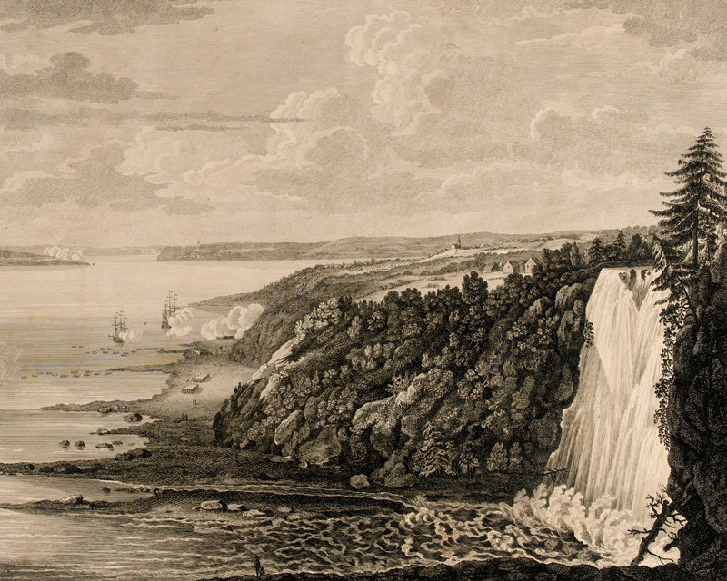 'A view of the Fall of Montmorenci near Quebec', line engraving after Captain Hervey Smyth, 1759