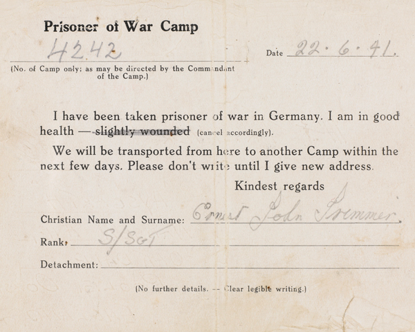 Notification that Sergeant Ernest Trimmer, Royal Army Ordnance Corps, was a prisoner of war in Germany, 22 June 1941