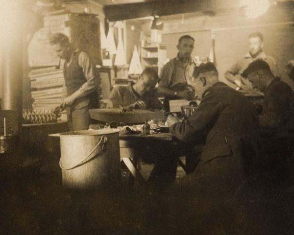 Stalag 383 model club members at work, c1943