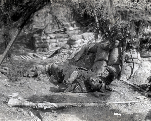 A dead soldier of the Wiltshire Regiment, near St Quentin, 18 March 1918