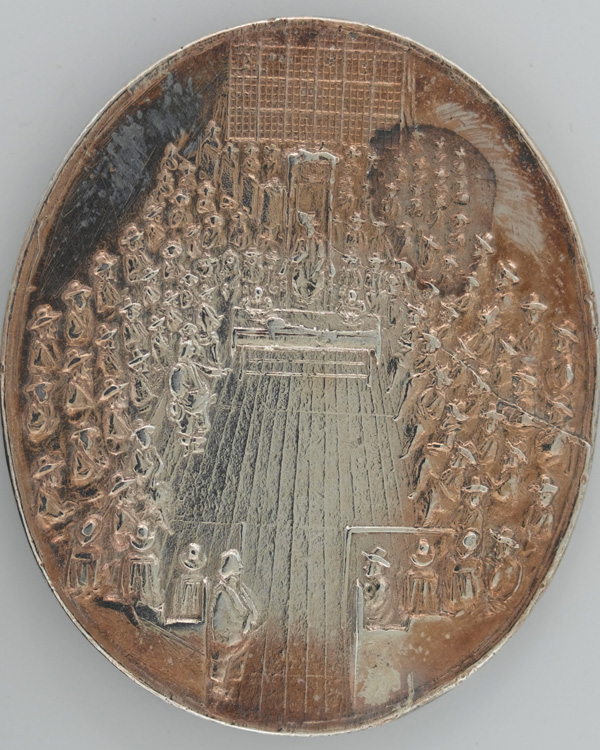 Silver medal commemorating the Parliamentarian victory at the Battle of Dunbar, 1650, bearing a view of the Parliament of the day