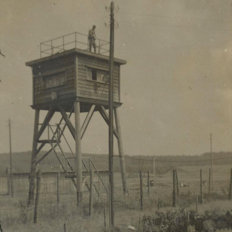 Guard tower at Stalag 383, Hohenfels, Germany, c1942