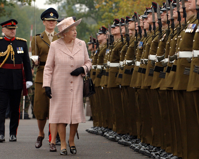 Queen Elizabeth II, Colonel-in-Chief of the Royal Engineers, inspects soldiers at Brompton Barracks, Chatham, 2007