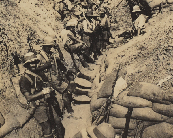 Troops in the trenches prior to the advance on Gaza, 1917