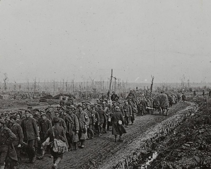 Prisoners taken during the Battle of the Sambre, one of the last Allied attacks of the victorious 'Hundred Days' offensive, 1918