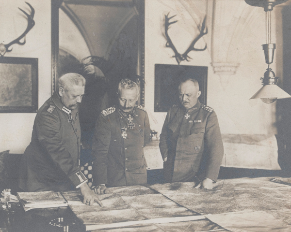 The Kaiser (centre) studying maps with Field Marshal Paul von Hindenburg and General Eric Ludendorff, 1917