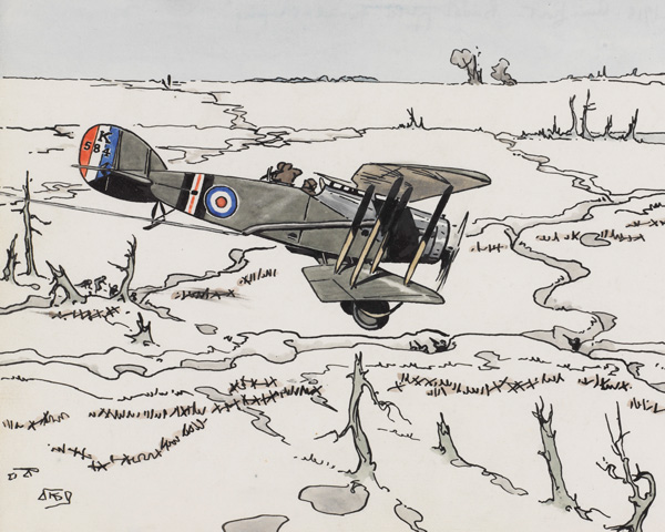 Ground attack aircraft like this Bristol fighter played an important role in the advances of August 1918