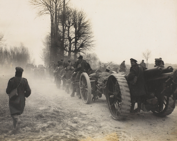 British guns move forward to meet the offensive, March 1918