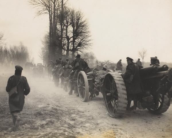 British guns move forward to meet the offensive, March 1918