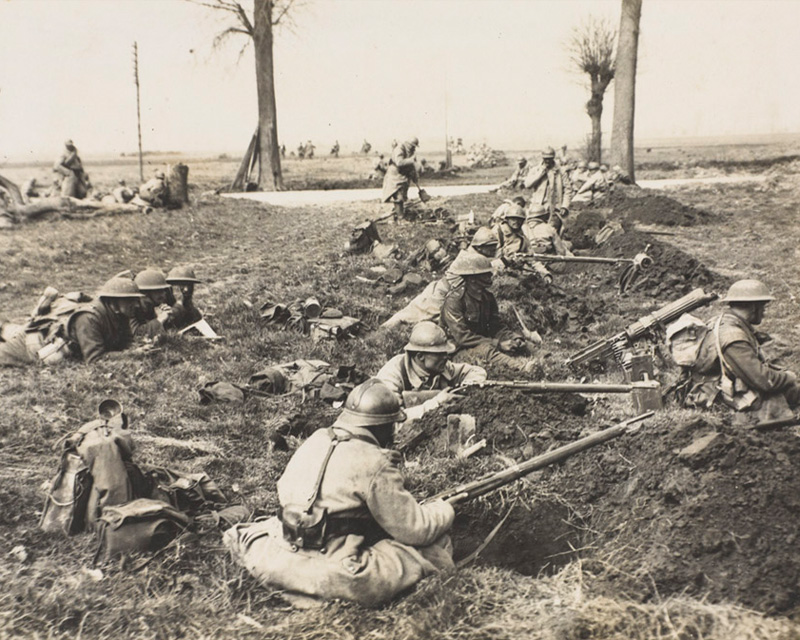 'The German offensive. British and French alongside each other waiting for the Boches', Spring 1918