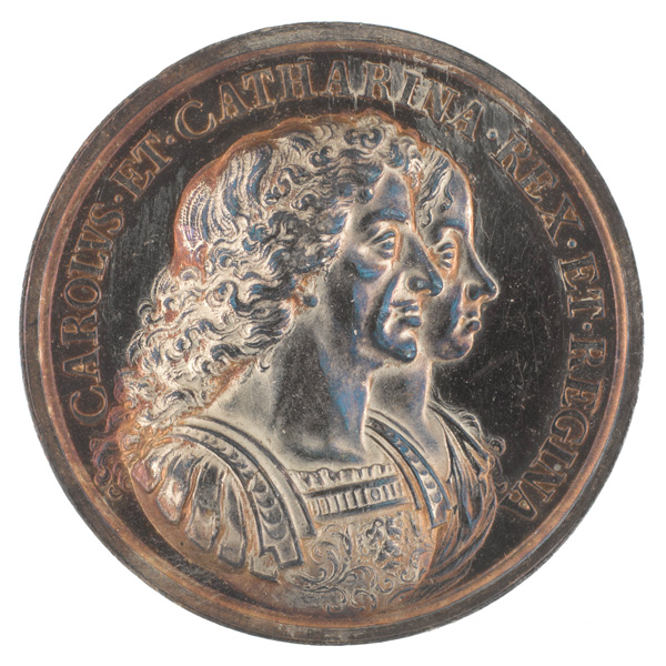 Silver medal depicting King Charles II and Queen Catherine of Braganza, 1670