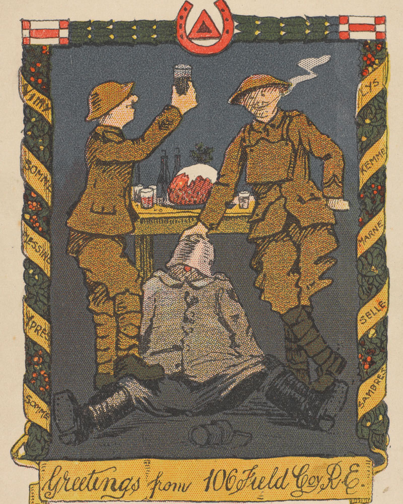 Christmas card sent by Sapper Fred Rushworth of the Royal Engineers, 1918