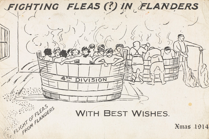 'Fighting Fleas in Flanders', a Christmas card sent by 4th Division, 1914