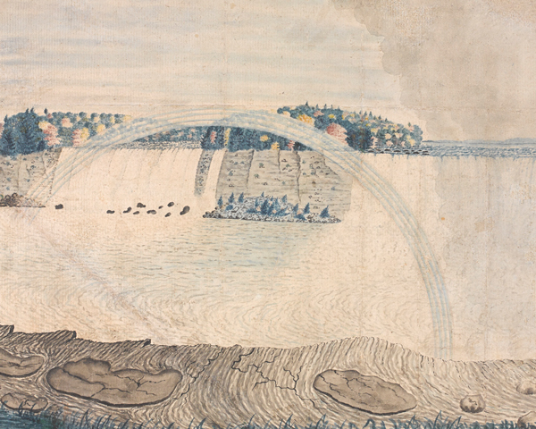 A scene from 'An East View of the Great Cataract of Niagara', 1762