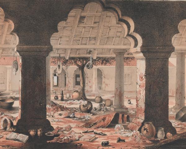 Scene of the massacre of British women and children at Cawnpore, 1857