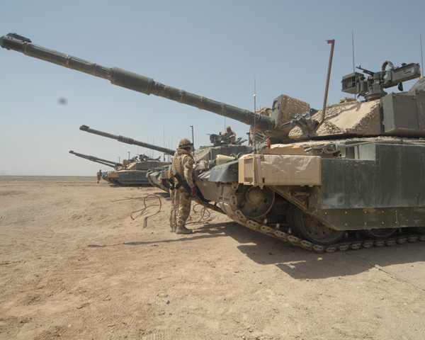 Challenger tanks of 'A' Squadron, The Queen's Royal Hussars (The Queen's Own and Royal Irish) in Iraq, 2009