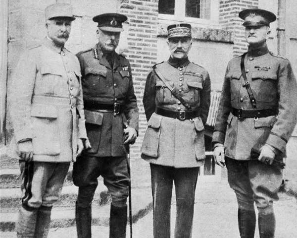 Allied commanders (from left) General Philippe Petain, Field Marshal Sir Douglas Haig, Marshal Ferdinand Foch, and General John Pershing, 1918