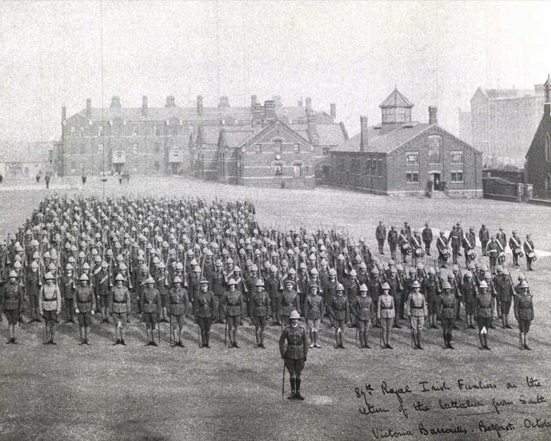 1st Battalion The Royal Irish Fusiliers parading at Victoria Barracks, Belfast, October 1902