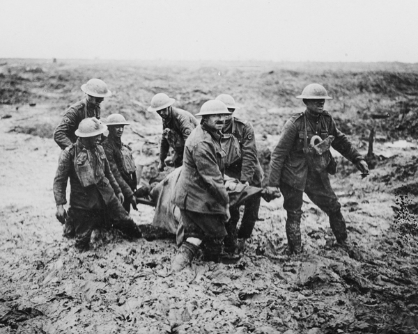 Carrying a wounded man at Passcendaele, 1917