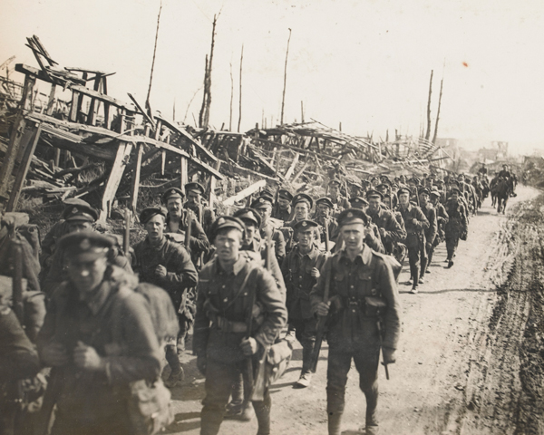 A battalion of The Duke of Cambridge's Own (Middlesex Regiment) move up to the line during the Battle of St Quentin, 22 March 1918