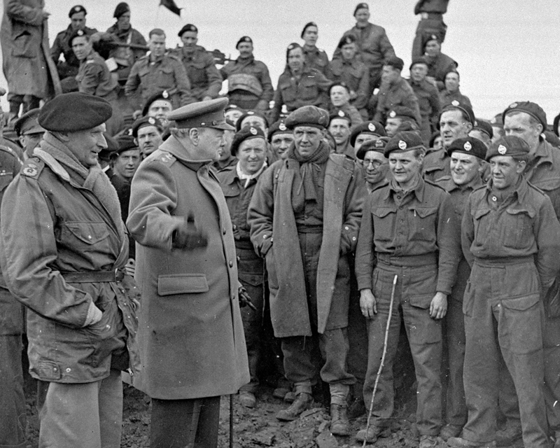 Sir Winston Churchill and Field Marshal Montgomery visiting men of 79th Armoured Division after the Rhine crossings, March 1945