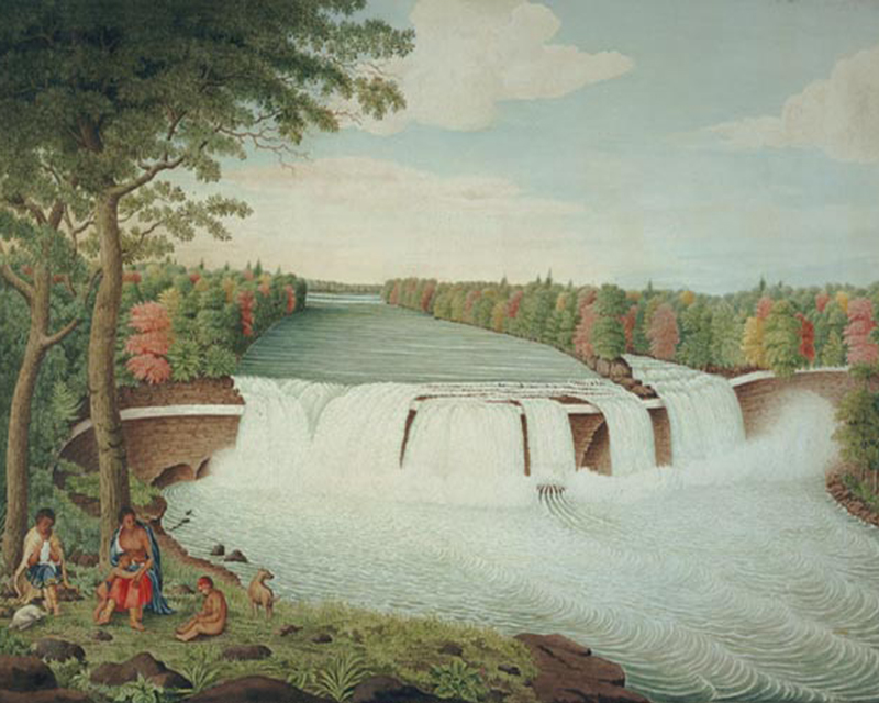 'A South East View of the Great Cataract on the Casconchiagon or Little Seneca's River', by Captain Thomas Davies, 1762