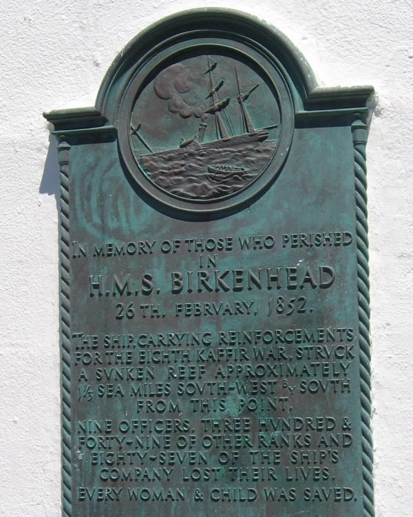 Plaque commemorating the 'Birkenhead' sinking at the Danger Point lighthouse
