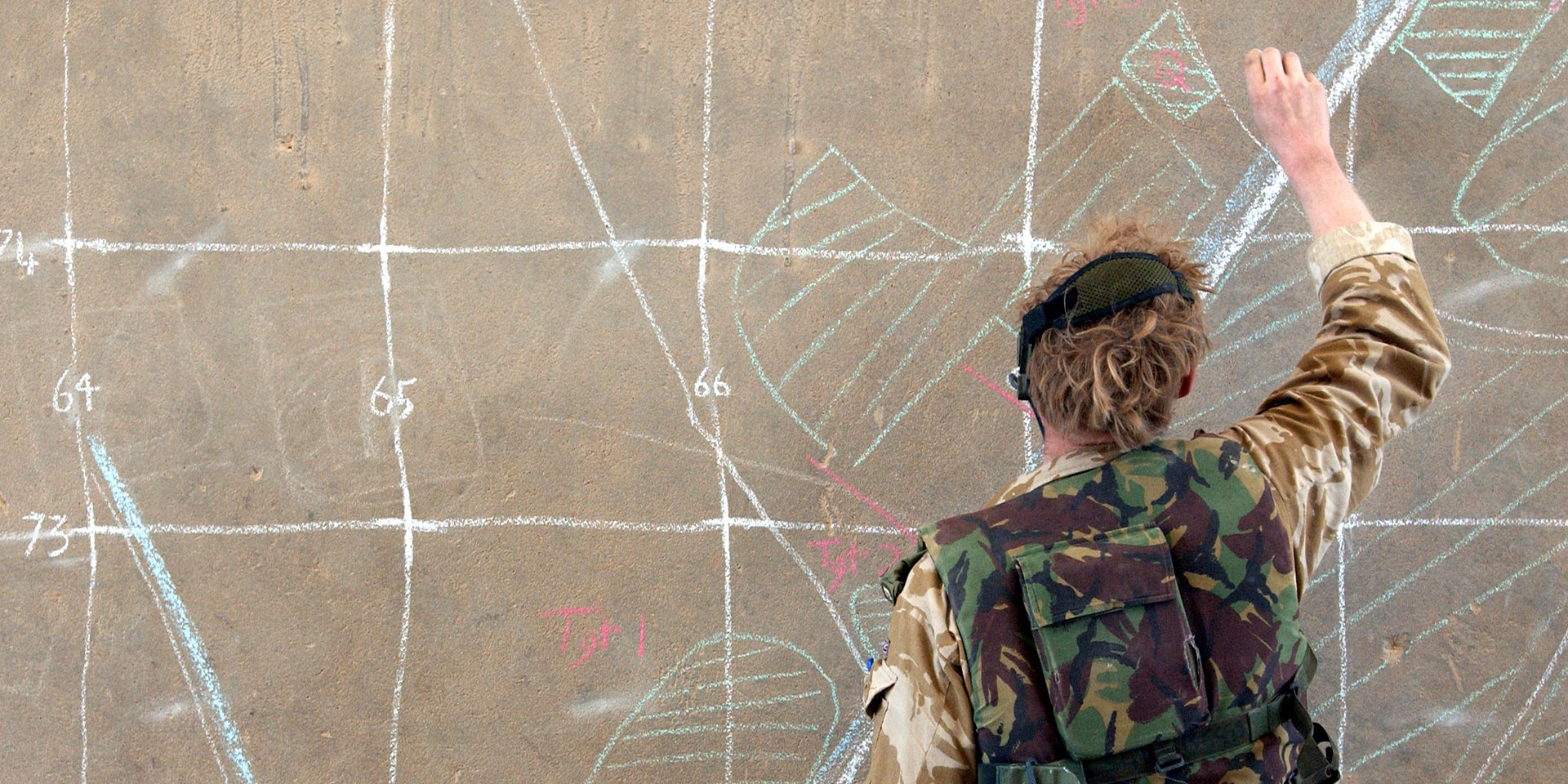 Soldier drawing on wall
