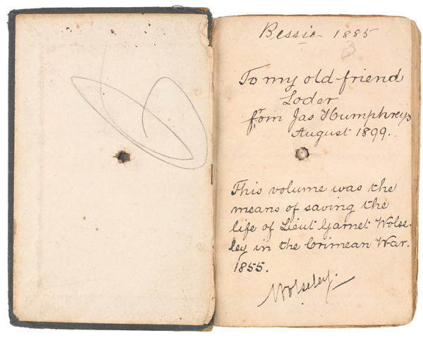 Lieutenant Garnet Wolseley's French grammar book that saved his life when it stopped a bullet at the Siege of Sevastopol, c1855