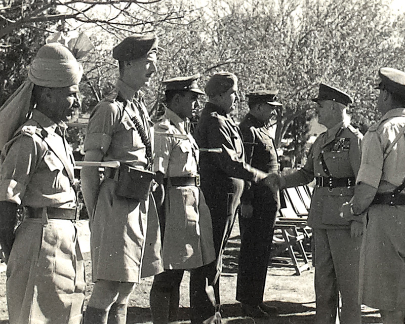Field Marshal Lord Wavell, the Viceroy of India, chatting to British and native officers of the Khyber Rifles, c1946