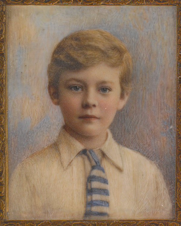 Miniature portrait of Lieutenant-General Robert Stone as a boy, artist unknown, c1900