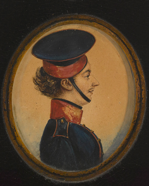 Miniature portrait of Private Henry Longden, Royal Horse Guards Blue, 16 July 1830, by Albin Burt