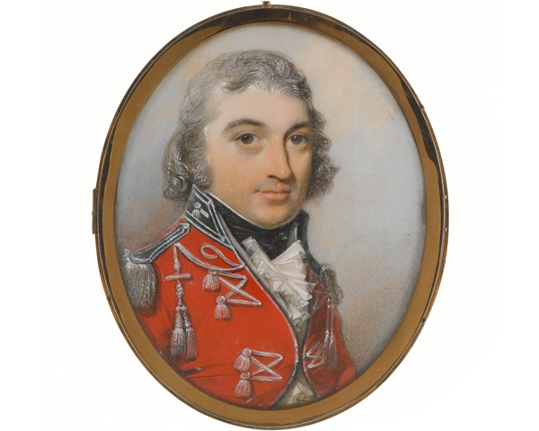 An unidentified officer of Fencible Cavalry. Miniature portrait in watercolour on ivory, by George Engleheart, c1800