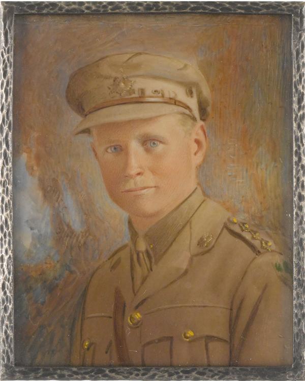 Miniature portrait on ivory of Major Richard Le Brun Nicholson MC, artist unknown, c1918