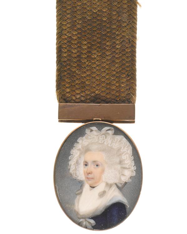 Portrait of Susannah Eveleigh, wife of William Eveleigh. Miniature portrait on ivory, unknown artist, c1785