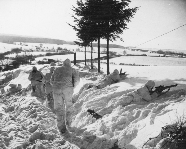 Men of 6th Airborne Division on patrol, Belgium, 14 January 1945